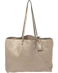 Fendi Metallic Silver Selleria Leather Tote - Gray