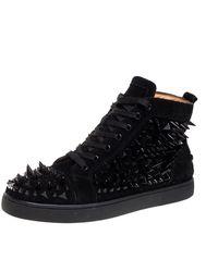 Christian Louboutin Black Suede Multi Level Spiked Pik Pik Louis High Top Sneakers