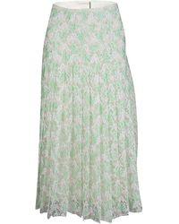 Christopher Kane Mint Plasma Floral Lace Pleated Midi Skirt - Green