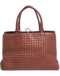 Bottega Veneta Copper Intrecciato Nappa Leather Tote - Brown