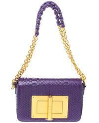 Tom Ford Purple Python Natalia Shoulder Bag