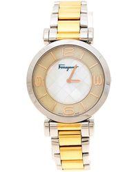 Ferragamo - Mother Pearl Two-tone Stainless Steel Gancino Fg3060014 Women's Wristwatch 39 Mm - Lyst