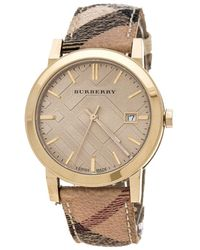 Burberry Gold Plate Steel The City Bu9026 Women's Wristwatch 38 Mm - Natural
