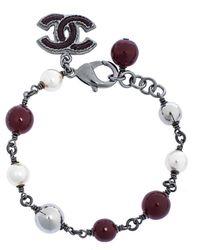 Chanel Faux Pearl Enamel Cc Charm Beaded Bracelet - Multicolour