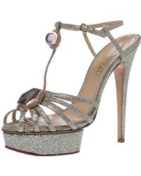 Charlotte Olympia Silver Glitter Fabric Leading Lady Platform Ankle Strap Sandals 41 - Metallic