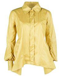 Louis Vuitton Yellow Top Stitch Detail Long Sleeve Asymmetric Shirt