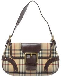 Burberry Brown/beige Haymarket Check Coated Canvas And Leather Buckle Flap Shoulder Bag