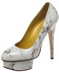 Charlotte Olympia White/grey Marble-print Leather Dolly Platform Court Shoes