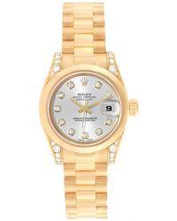 Rolex Silver 18k Yellow Gold Diamond President Crown Collection 179298 Women's Wristwatch 26mm - Metallic