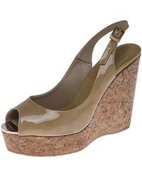 Jimmy Choo Beige Patent Leather Prova 120 Wedge Sandals - Natural