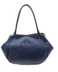 Aigner Blue Ostrich Embossed Leather Satchel