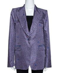 Roberto Cavalli Purple Floral Print Silk Tailored Jacket