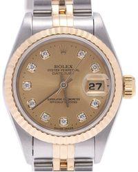 Rolex Champagne Diamonds 18k Yellow Gold And Stainless Steel Datejust 69173 Wristwatch 26 Mm - Metallic