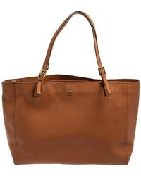 Tory Burch Brown Leather Large York Buckle Tote