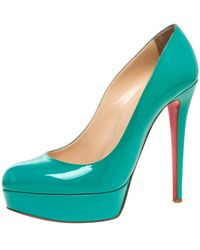 Christian Louboutin Turquoise Patent Leather Bianca Platform Court Shoes - Green