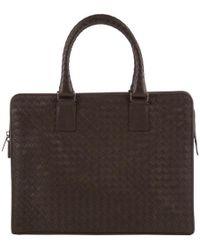 Bottega Veneta - Dark Brown Intercciato Woven Leather Briefcase - Lyst