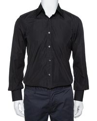 Tom Ford Black Cotton Long Sleeve Fitted Shirt