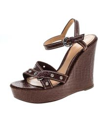Sergio Rossi - Croc Embossed Leather Wedge Ankle Strap Sandals - Lyst