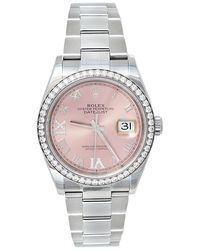 Rolex Pink 18k White Gold & Stainless Steel Diamonds Oyster Perpetual Datejust 126284rbr Wristwatch 36 Mm