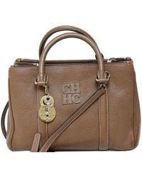 Carolina Herrera - Brown Pebbled Leather Matteo Top Handle Bag - Lyst