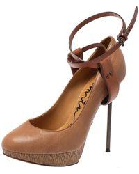 Lanvin Beige/brown Leather Ankle Strap Platform Pumps - Natural