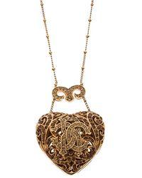 Roberto Cavalli Signature Crystal Heart Pendant Gold Tone Necklace - Metallic