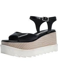 Stella McCartney Black Faux Leather Creeper Platform Ankle Strap Sandals