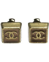 Chanel Cc Pink Enamel Gold Tone Clip-on Earrings - Metallic