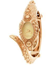 Roberto Cavalli Gold Tone Eva Snake R7253126027 Bangle Women's Wristwatch 22 Mm