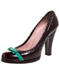 Marc Jacobs Burgundy Leather Bow Platform Court Shoes Size 37.5 - Multicolour