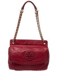 Tory Burch Red Soft Leather Marion Shoulder Bag