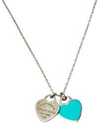Tiffany & Co. Return To Tiffany Blue Enamel Double Heart Tag Pendant Necklace