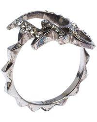 Dior Crystal Logo Silver Tone Ring - Metallic