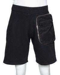 Givenchy Black Cotton Rib Knit Bomber Zip Shorts