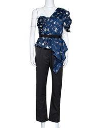 Self-Portrait Navy Blue Star Satin Embellished One Shoulder Jumpsuit