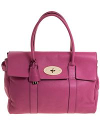 Mulberry Fuschia Grained Leather Bayswater Satchel - Pink