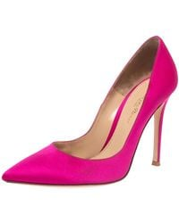 Gianvito Rossi Pink Satin Pointed Toe Court Shoes