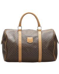Celine Brown/beige Coated Canvas Macadam Duffel Bag