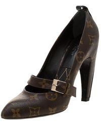 Louis Vuitton Monogram Canvas Pointed Toe Strap Court Shoes Size 35.5 - Brown