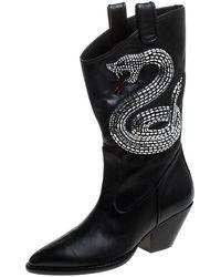 Giuseppe Zanotti Black Snake Embellished Leather Guns 55 Cowboy Boots