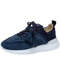 Tod's Blue Suede Leather Tassel Fringe Low Top Sneakers