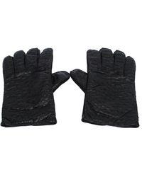 Etro Black Ostrich Gloves M