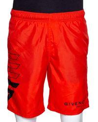 Givenchy Neon Orange Synthetic Logo Printed Track Shorts