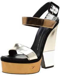 Giuseppe Zanotti Metallic Gold And Silver Leather Platform Wedge Strappy Sandals Size 40