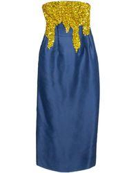 Oscar de la Renta Midnight Blue Silk Sequin Embellished Strapless Gown