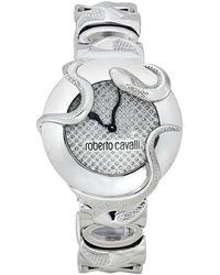 Roberto Cavalli Silver Stainless Steel Snake Wristwatch - Metallic