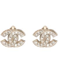 Chanel Cc Crystal Silver Tone Clip-on Stud Earrings - Metallic