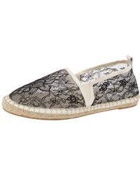 Dolce & Gabbana Black/white Lace Espadrille Flats