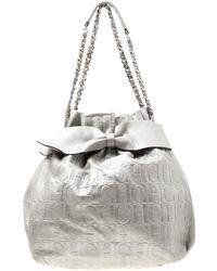 Carolina Herrera - Monogram Leather Bow Bucket Hobo - Lyst