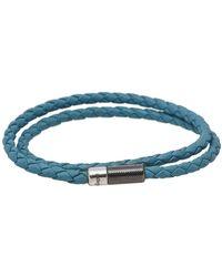 Ermenegildo Zegna Blue Woven Leather Double Wrap Bracelet
